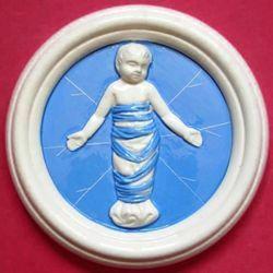 Immagine di Putto Tondo da Muro diam. cm 15 (5,9 in) Bassorilievo Ceramica Robbiana