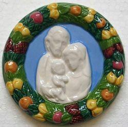 Picture of Holy Family Wall Tondo diam. cm 11 (4,3 in) Bas relief Glazed Ceramic Della Robbia