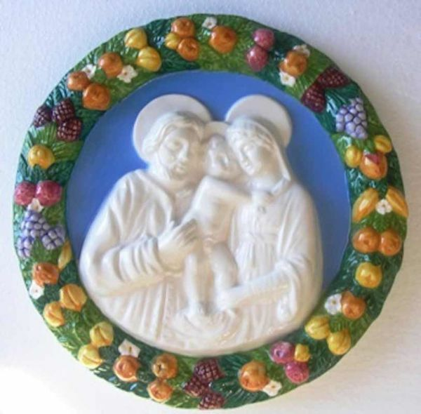 Immagine di Sacra Famiglia Tondo da Parete diam. cm 25 (9,8 in) Bassorilievo Maiolica Robbiana