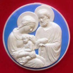 Picture of Holy Family Wall Tondo diam. cm 28 (11 in) Bas relief Glazed Maiolica Della Robbia
