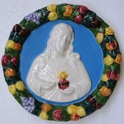 Imagen de Sagrado Corazón de Jesús Tondo de pared diám. cm 18 (7,1 in) Bajorrelieve Cerámica Della Robbia