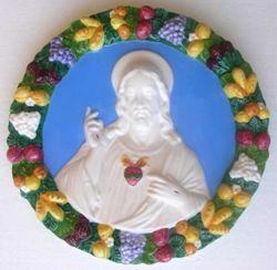 Imagen de Sagrado Corazón de Jesús Tondo de pared diám. cm 32 (12,6 in) Bajorrelieve Mayólica Robbiana