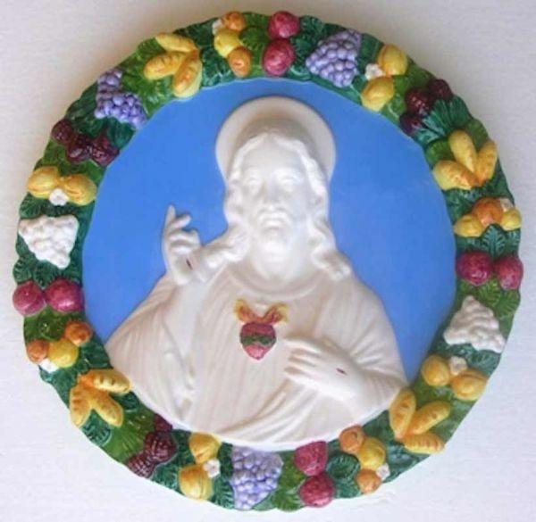 Immagine di Sacro Cuore di Gesù Tondo da Muro diam. cm 32 (12,6 in) Bassorilievo Maiolica Robbiana