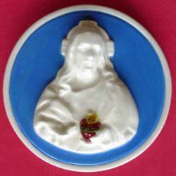 Imagen de Sagrado Corazón de Jesús Tondo de pared diám. cm 12 (4,7 in) Bajorrelieve Mayólica Robbiana