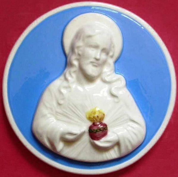 Imagen de Sagrado Corazón de Jesús Tondo de pared diám. cm 16 (6,3 in) Bajorrelieve Cerámica Della Robbia