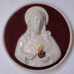 Imagen de Sagrado Corazón de Jesús Tondo de pared diám. cm 16 (6,3 in) Bajorrelieve Cerámica vidriada
