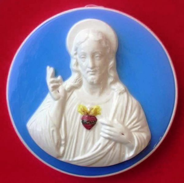 Picture of Sacred heart of Jesus Wall Tondo diam. cm 28 (11 in) Bas relief Glazed Ceramic Della Robbia