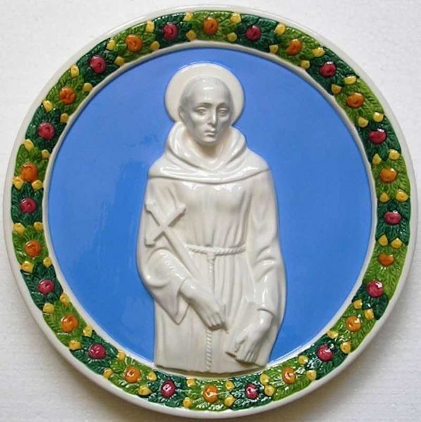 Picture of St. Francis Wall Tondo diam. cm 30 (11,8 in) Bas relief Glazed Ceramic Della Robbia