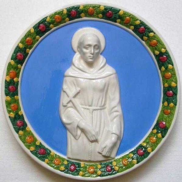 Immagine di San Francesco Tondo da Muro diam. cm 30 (11,8 in) Bassorilievo Ceramica Robbiana