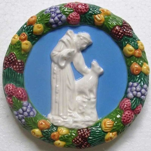 Immagine di San Francesco d'Assisi Tondo da Parete diam. cm 15 (5,9 in) Bassorilievo Ceramica Robbiana