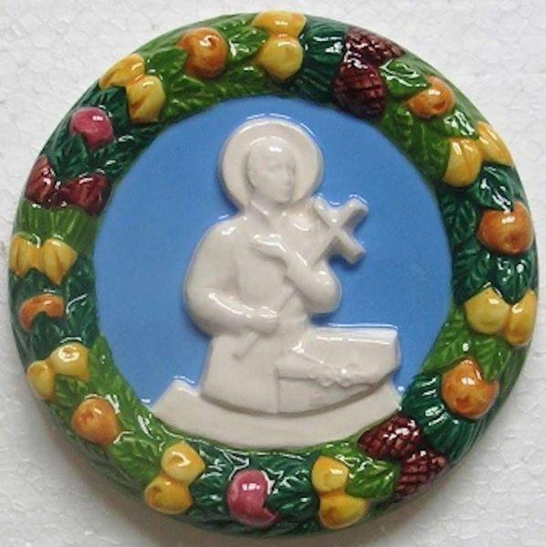 Immagine di San Gerardo Tondo da Muro diam. cm 11 (4,3 in) Bassorilievo Ceramica Robbiana