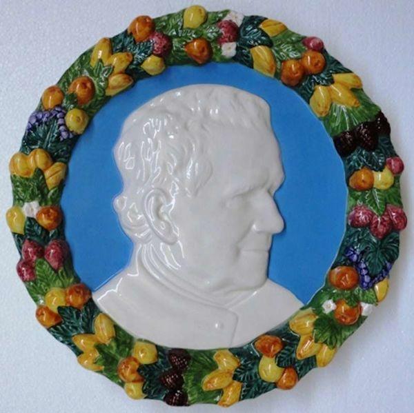 Immagine di San Giovanni Bosco Tondo da Parete diam. cm 35 (13,8 in) Bassorilievo Ceramica Robbiana