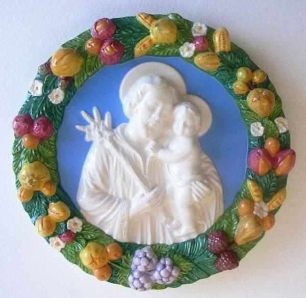 Immagine di San Giuseppe Tondo da Muro diam. cm 38 (15 in) Bassorilievo Ceramica Invetriata