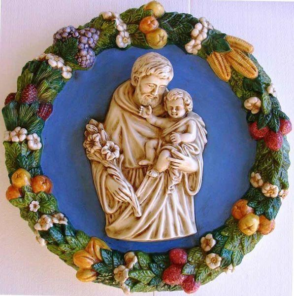 Picture of Saint Joseph Wall Tondo diam. cm 56 (22 in) Bas relief Glazed Ceramic Della Robbia