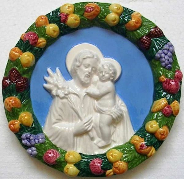 Picture of Saint Joseph Wall Tondo diam. cm 22 (8,7 in) Bas relief Glazed Ceramic Della Robbia