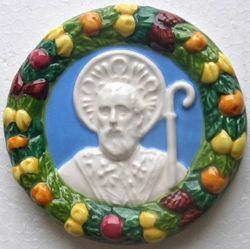 Picture of St. Nicholas of Bari Wall Tondo. Bas relief plaque in glazed ceramic, in the style of Luca Della Robbia, the Renaissance sculptor from Florence (Tuscany), with a frame of fruits and flowers <br />diam. cm 12 (4,7 in)