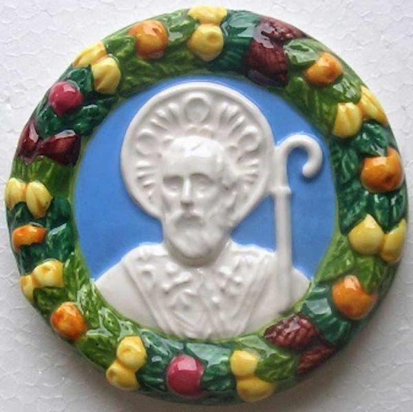 Immagine di San Nicola di Bari Tondo da Muro diam. cm 12 (4,7 in) Bassorilievo Ceramica Robbiana