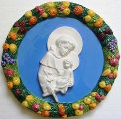Picture of St. Anthony Wall Tondo diam. cm 25 (9,8 in) Bas relief Glazed Ceramic Della Robbia