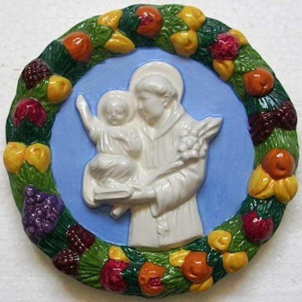 Picture of St. Anthony of Padua Wall Tondo diam. cm 17 (6,7 in) Bas relief Glazed Ceramic Della Robbia