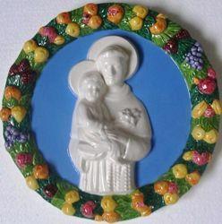 Picture of St. Anthony of Padua Wall Tondo diam. cm 25 (9,8 in) Bas relief Glazed Ceramic Della Robbia