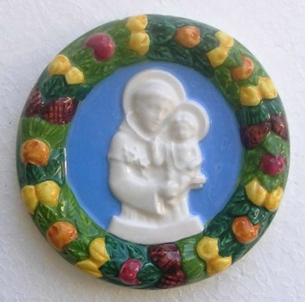 Picture of St. Anthony of Padua Wall Tondo diam. cm 11 (4,3 in) Bas relief Glazed Maiolica Della Robbia