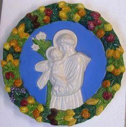 Picture of St. Anthony of Padua Wall Tondo diam. cm 32 (12,6 in) Bas relief Glazed Ceramic Della Robbia