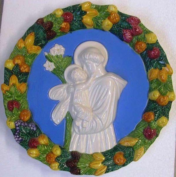 Immagine di Sant' Antonio da Padova Tondo da Parete diam. cm 32 (12,6 in) Bassorilievo Ceramica Robbiana