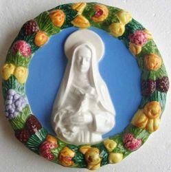 Picture of Saint Rita of Cascia Wall Tondo diam. cm 17 (6,7 in) Bas relief Glazed Ceramic Della Robbia