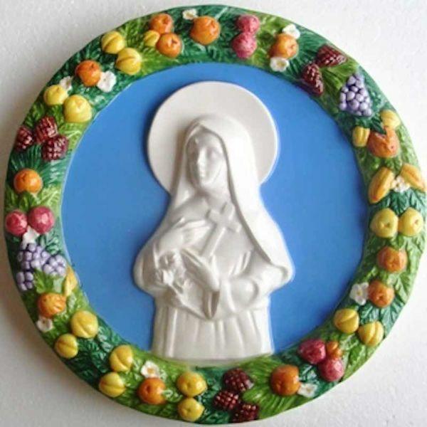 Picture of Saint Rita of Cascia Wall Tondo diam. cm 25 (9,8 in) Bas relief Glazed Maiolica Della Robbia