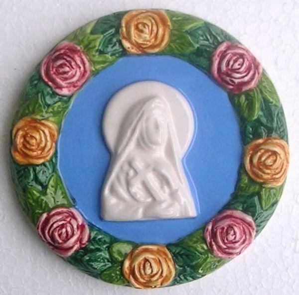 Imagen de Santa Rita de Casia y Roses Tondo de pared diám. cm 11 (4,3 in) Bajorrelieve Cerámica Della Robbia