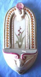 Picture of Angels and Shell Holy Water Stoup cm 26 (10,2 in) Hand-painted Glazed Ceramic