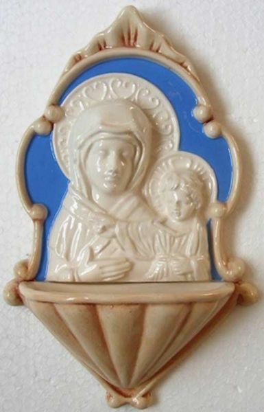 Imagen de Nuestra Señora de S. Luca Pila de Agua Bendita cm 20 (7,9 in) Bajorrelieve Cerámica Della Robbia Benditera