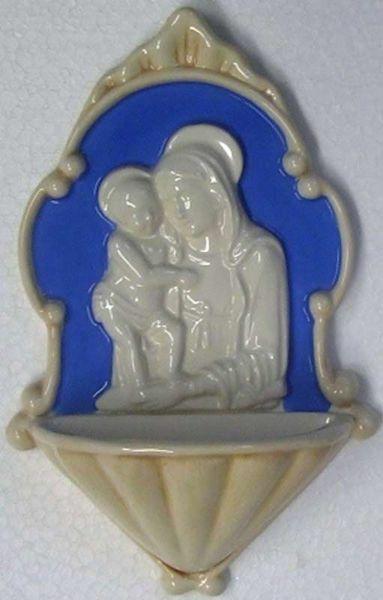 Immagine di Madonna con Bambino Acquasantiera cm 20 (7,9 in) Bassorilievo Ceramica Robbiana