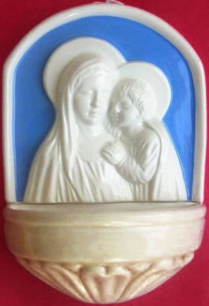 Picture of Madonna and Child Holy Water Stoup cm 17 (6,7 in) Bas relief Glazed Ceramic Della Robbia