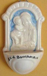 Immagine di Madonna di Boccadirio Acquasantiera cm 12x7 (4,7x2,8 in) Bassorilievo Ceramica Robbiana