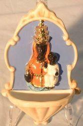 Immagine di Madonna di Oropa Acquasantiera cm 20 (7,9 in) Bassorilievo Ceramica Robbiana