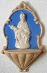 Picture of Our Lady of Pietralba Holy Water Stoup cm 20 (7,9 in) Bas relief Glazed Ceramic Della Robbia