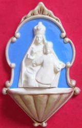 Picture of Our Lady Crowned Holy Water Stoup cm 20 (7,9 in) Bas relief Glazed Ceramic Della Robbia