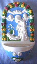 Picture of Nativity Holy Water Stoup cm 26 (10,2 in) Bas relief Glazed Ceramic Della Robbia