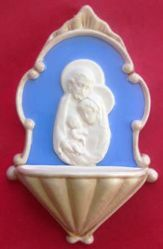 Picture of  Holy Family Holy Water Stoup cm 20 (7,9 in) Bas relief Glazed Ceramic Della Robbia