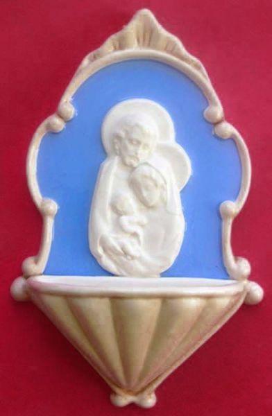 Imagen de Sagrada Familia Pila de Agua Bendita cm 20 (7,9 in) Bajorrelieve Cerámica Della Robbia Benditera