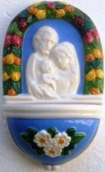 Picture of  Holy Family with Flowers Holy Water Stoup cm 15 (5,9 in) Bas relief Glazed Ceramic Della Robbia