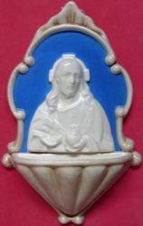 Imagen de Sagrado Corazón de Jesús Pila de Agua Bendita cm 20 (7,9 in) Bajorrelieve Cerámica Della Robbia Benditera