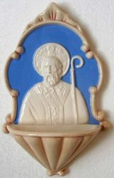 Picture of St. Nicholas Holy Water Stoup cm 20 (7,9 in) Bas relief Glazed Ceramic Della Robbia