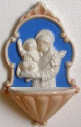 Picture of St. Anthony Holy Water Stoup cm 20 (7,9 in) Bas relief Glazed Ceramic Della Robbia
