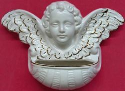 Picture of Guardian Angel Holy Water Stoup cm 24 (9,4 in) White and Gold Glazed Ceramic