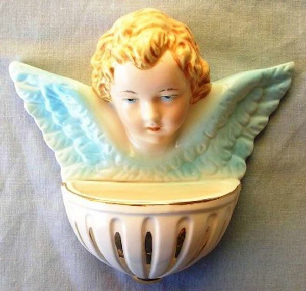 Picture of Guardian Angel Holy Water Stoup cm 15 (5,9 in) Hand-painted Glazed Ceramic