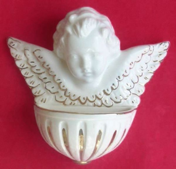 Picture of Guardian Angel Holy Water Stoup cm 15 (5,9 in) White and Gold Glazed Ceramic