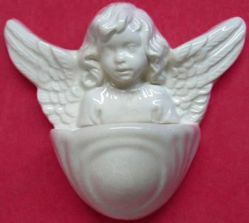 Picture of Guardian Angel Holy Water Stoup cm 10 (3,9 in) Hand-painted Glazed Ceramic