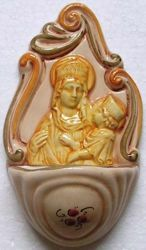 Picture of Virgin Mary and Child with Flowers Holy Water Stoup cm 14 (5,5 in) Hand-painted Glazed Ceramic